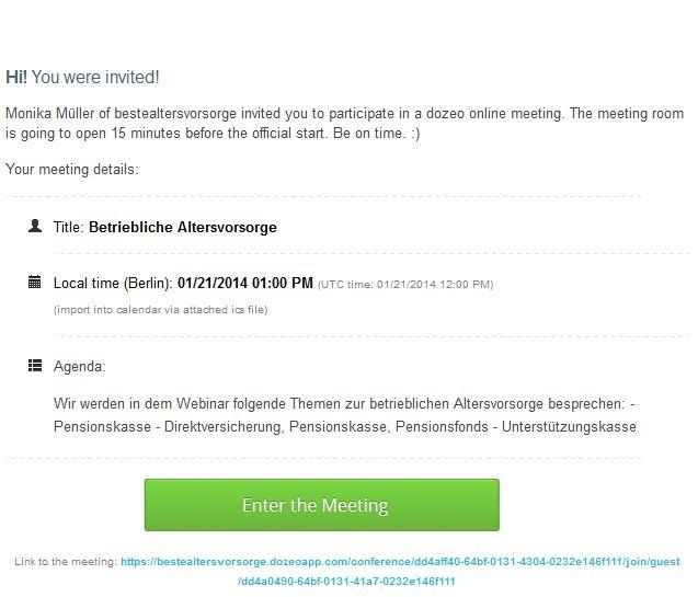 E-Mail mit den Informationen zum Webinar: Thema, Termin, Agenda und Link zum Meetingraum